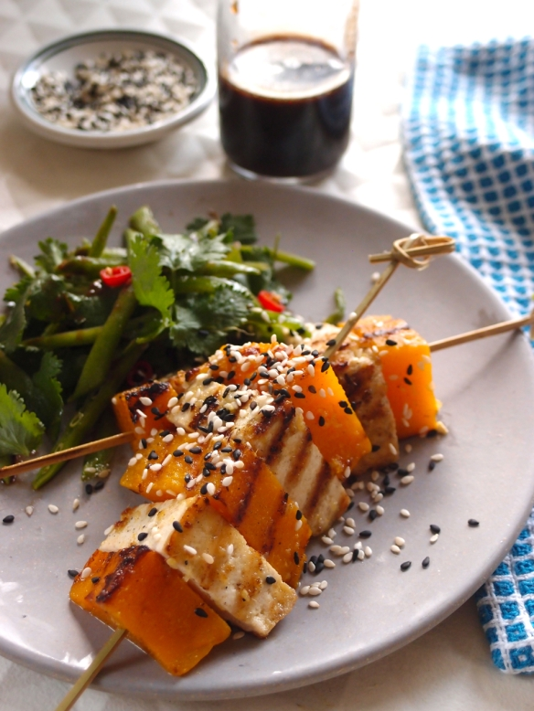 Pumpkin & tofu skewers with tamarind dressed snow pea salad