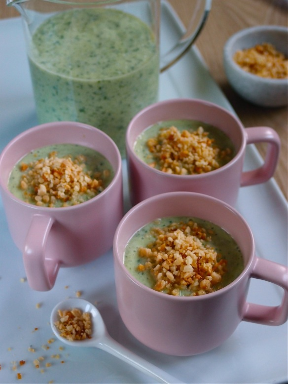 Chilled cucumber, avocado and mint soup with a zesty garlic crumb