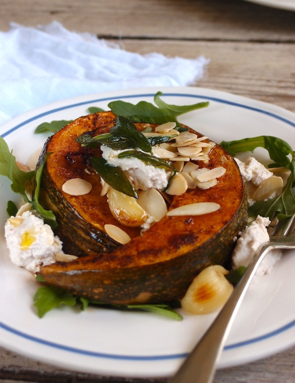 Roast pumpkin, ricotta and sage salad